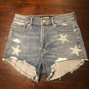 Express High Rise Shortie Jean Shorts